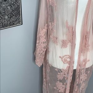 Mustard Seed Sweaters - Baby Pink Embroidered Kimono